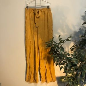 Mustard yellow wide leg pants